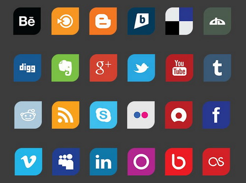 Leaf Flat Social Media Icon Set