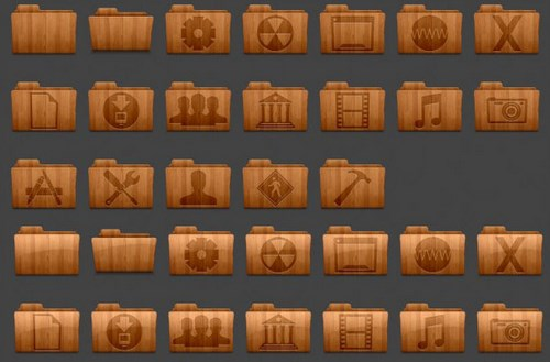Wood Retro Folder Icons