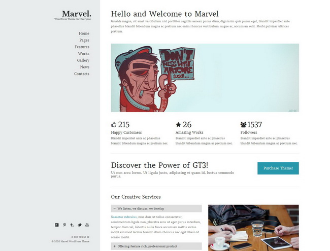 Marvel Creative Portfolio WordPress Theme