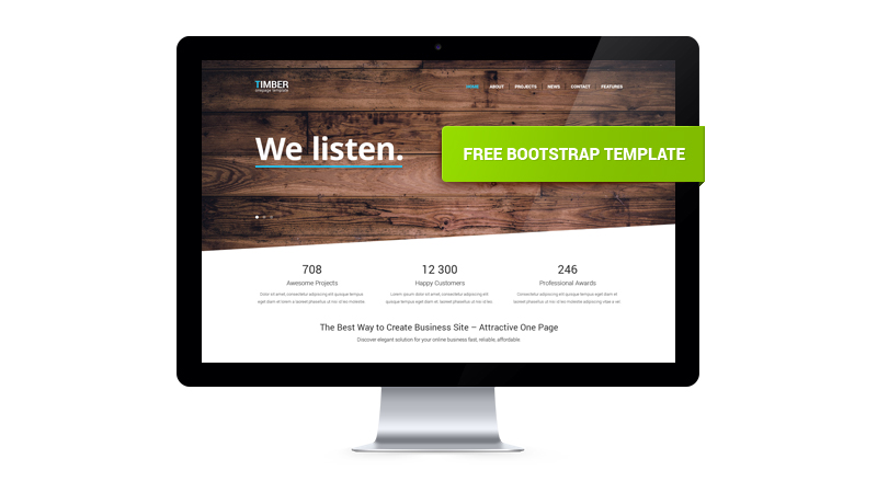 Timber – Free One Page Bootstrap Template | GT3 Themes