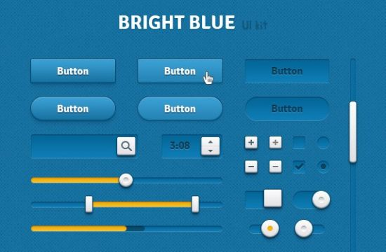 Bright Blue UI Kit Retina Ready