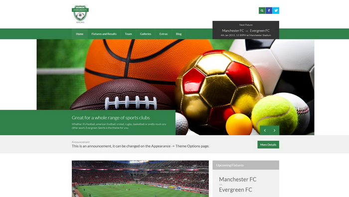 Evergreen Sports - WP Theme for Sports Clubs