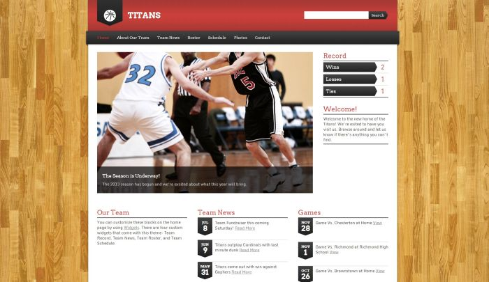 Titans Sports Team WordPress Theme