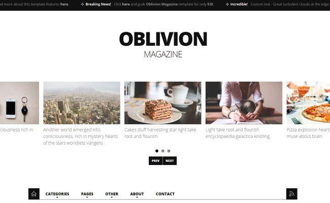 Oblivion Magazine Theme