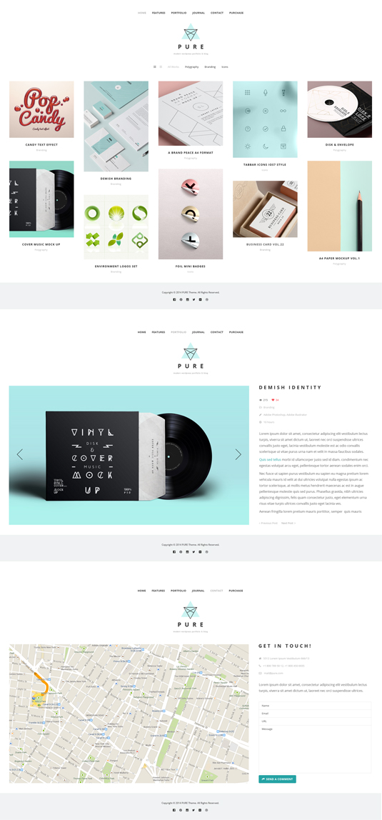 Pure Free Portfolio WordPress Theme