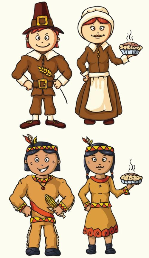Happy Pilgrims and Indians Characters