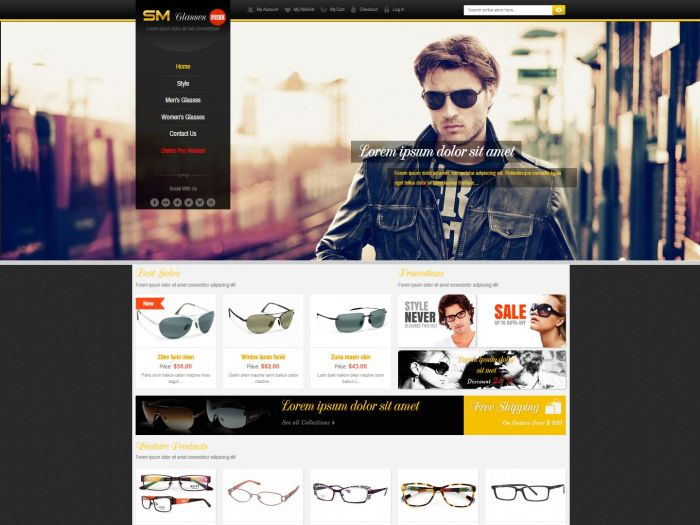 SM Glasses Magento Theme