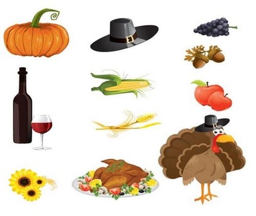 Vector Beautiful Set of Thanksgiving Icons