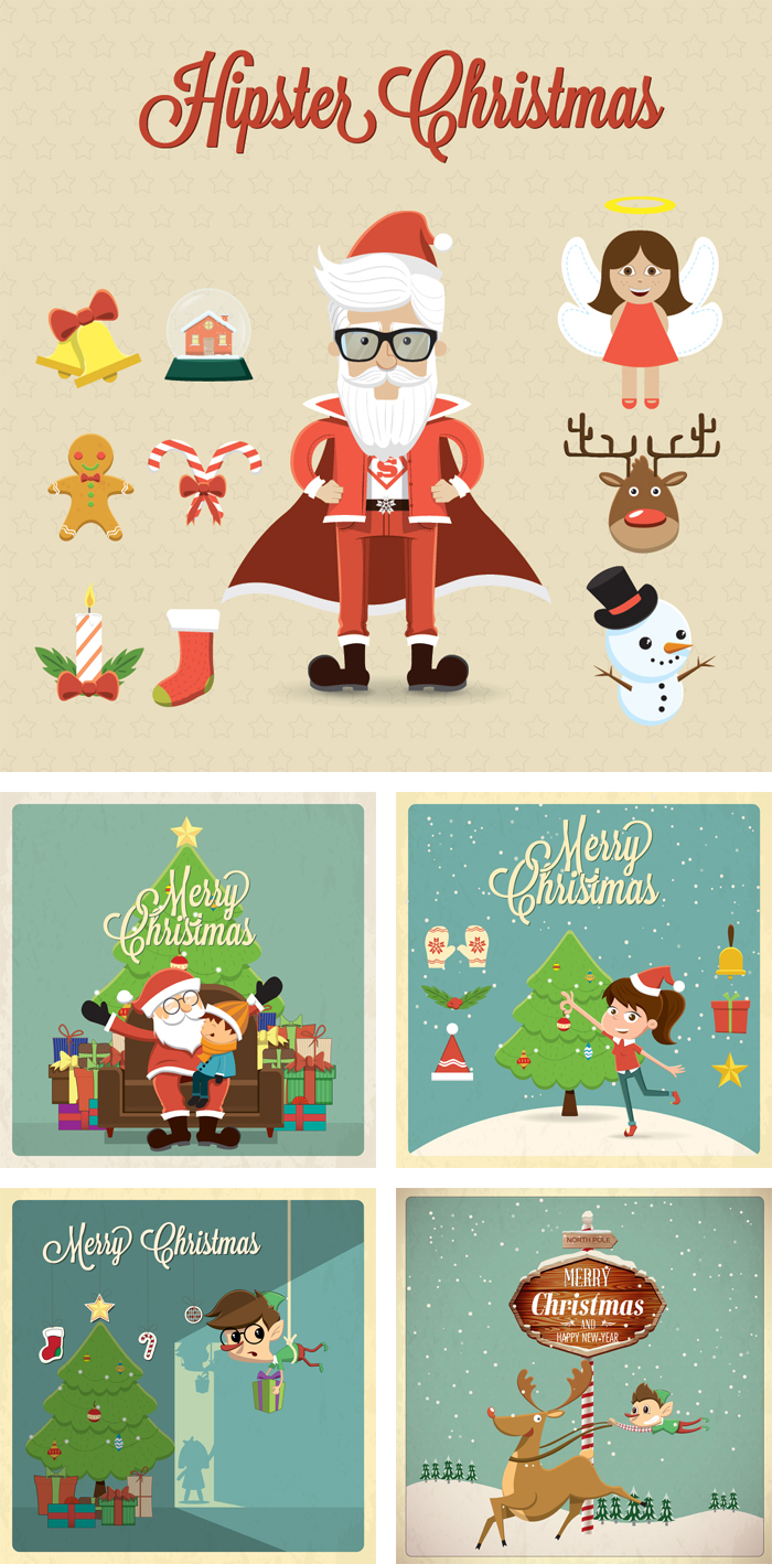 christmas hipster illustrations