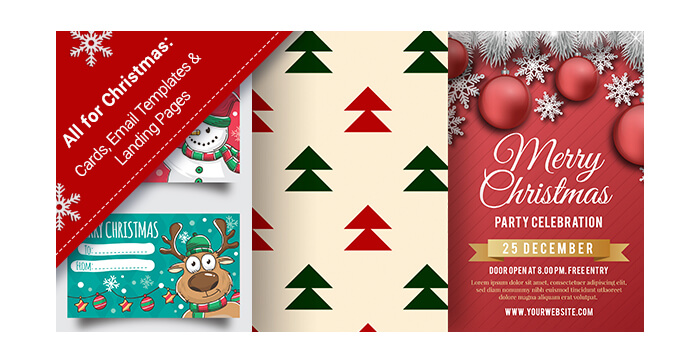 All for Christmas Seasonal Cards, Email Templates, Landing Pages