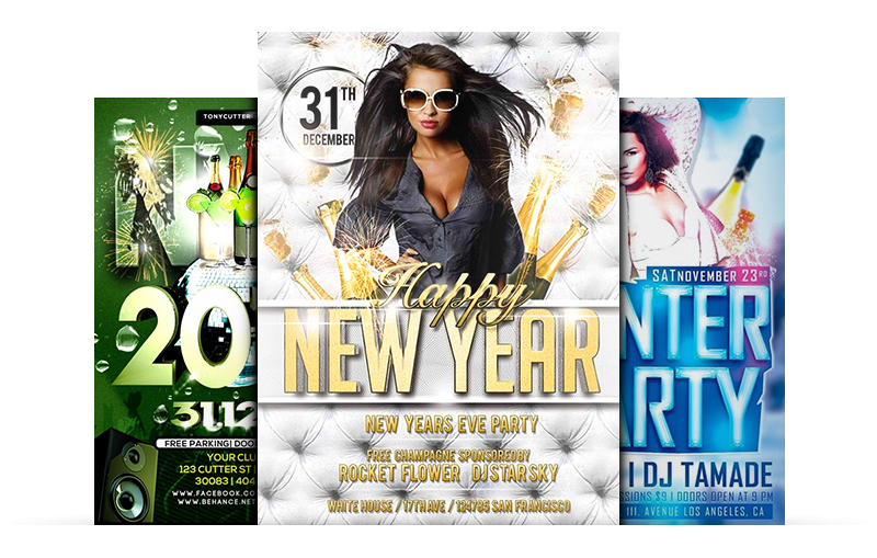 For a Great New Year Party - Free Flyer Templates Collection