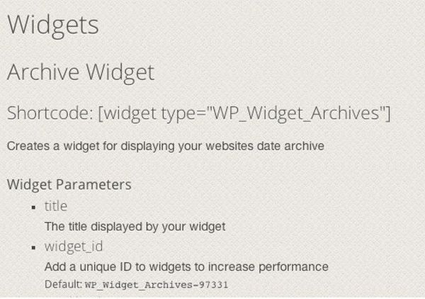 Inserting Widgets With Shortcodes