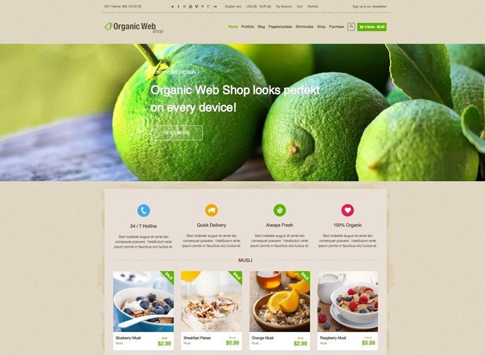 Organic Web Shop WooCommerce Theme