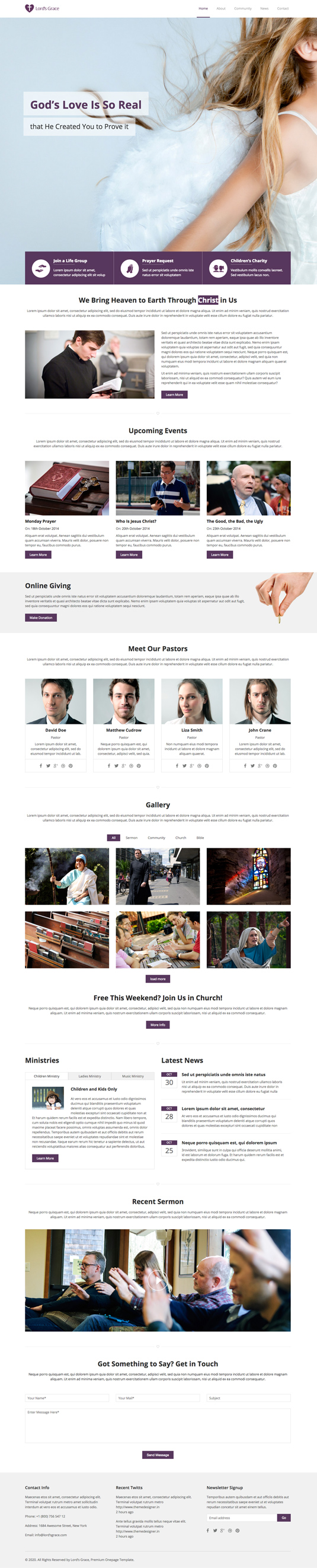 church one page website template