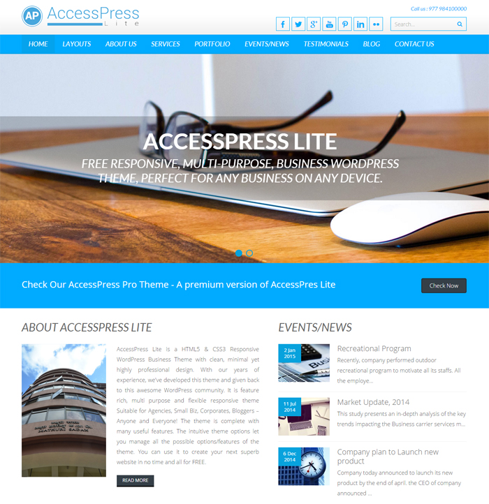 accesspress lite free business wordpress theme
