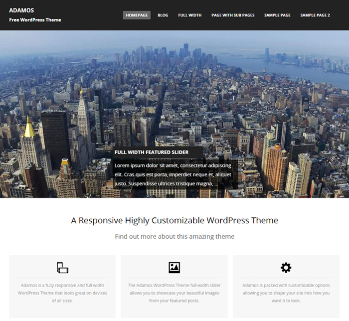 adamos free business wordpress theme