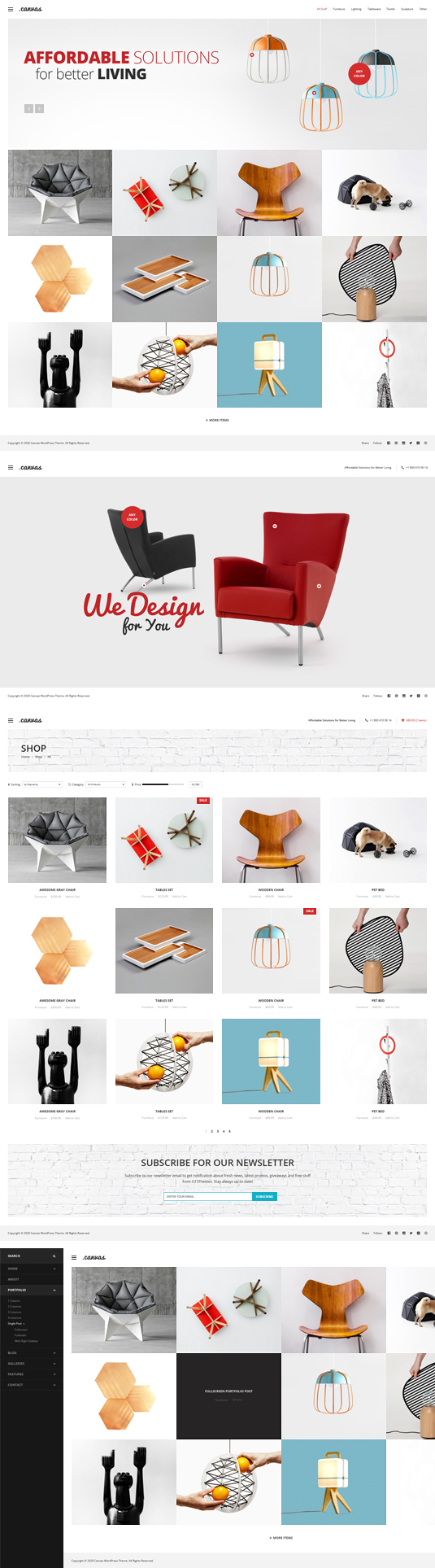 Canvas Interior Furniture Portfolio Wordpress Theme