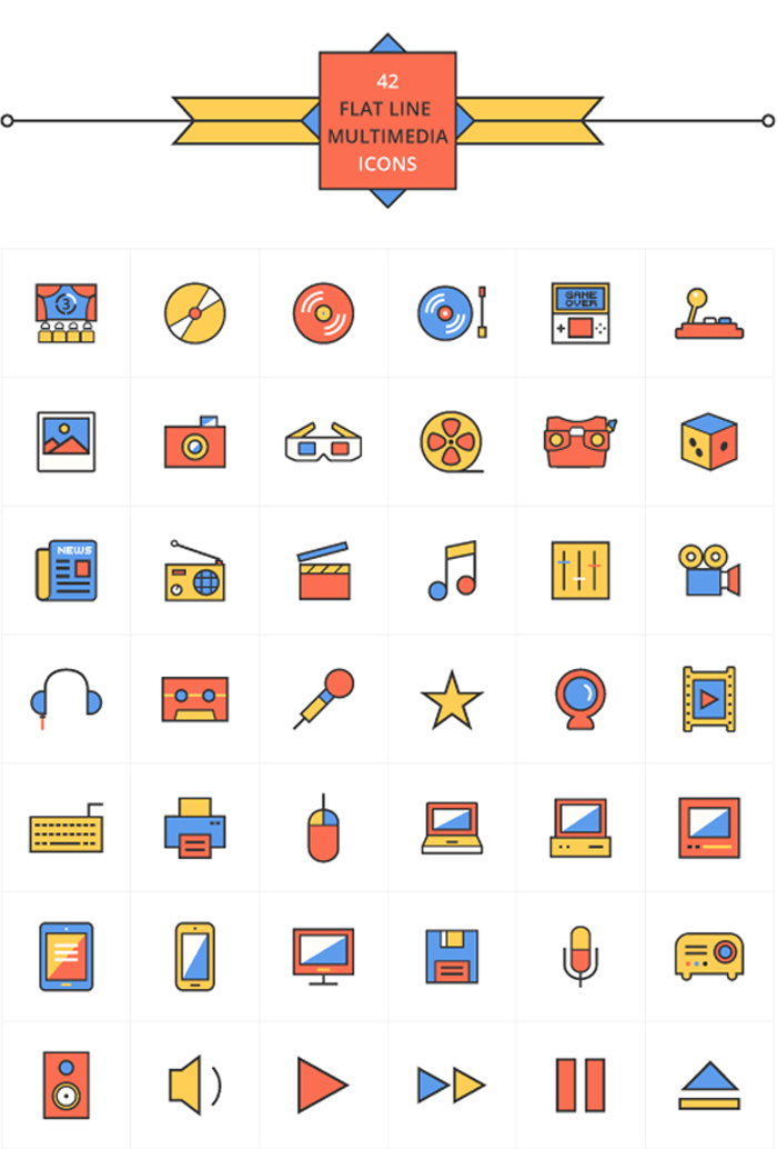 42 flat line multimedia icons