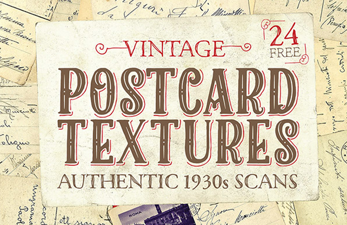 free authentic 1930s postcard textures