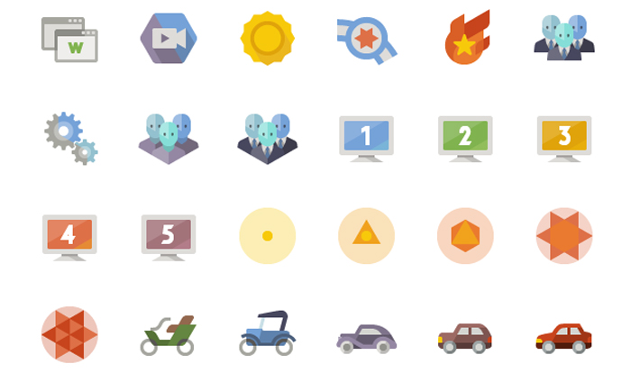 free flat web design icons