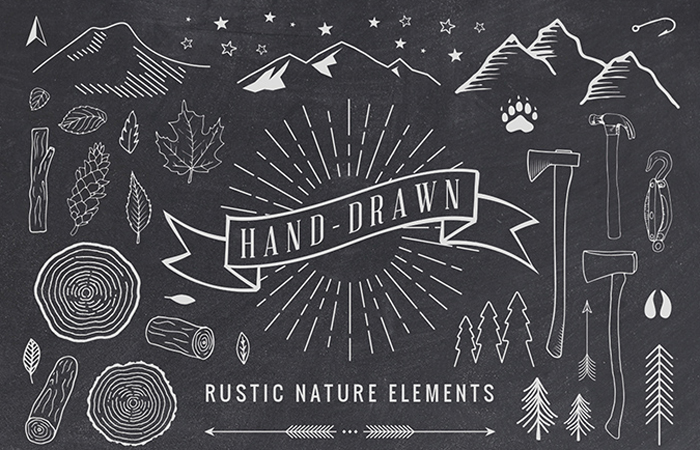 free hand drawn rustic elements