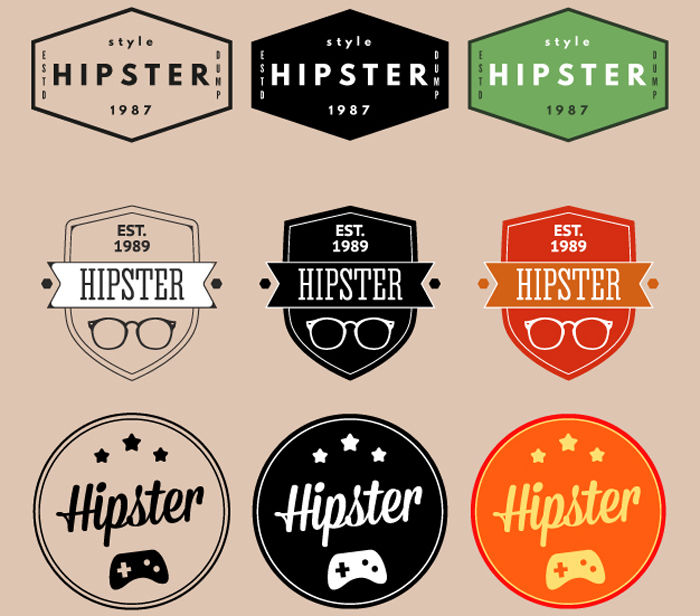 free hipster vectors for vintage and retro designs