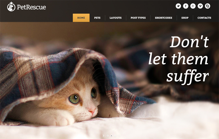 pet rescue animals & charity wordpress theme