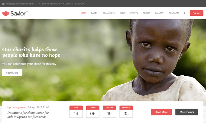 savior charity & donations wordpress theme