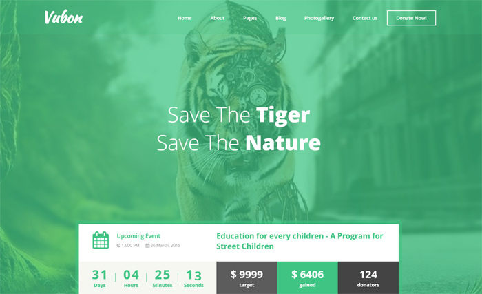 vubon multipage charity html template