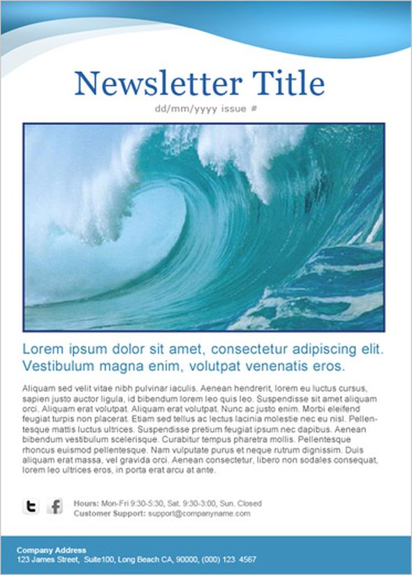 blue wave newsletter template