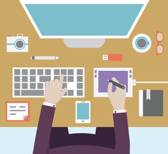 Workplace of designer with devices for work. Flat style - vector illustration