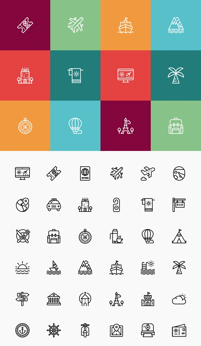 travel-and-vacation-icon-set