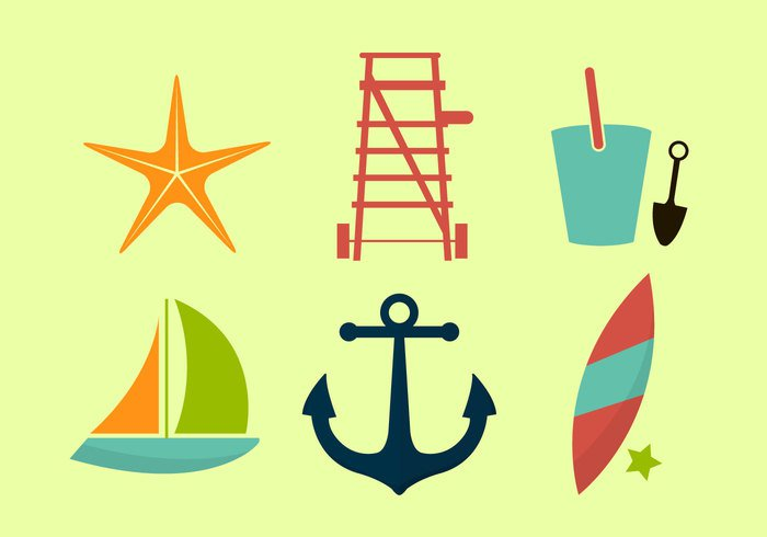 vector-beach-icon-set