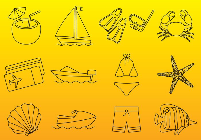 vector-vacations-thin-icons
