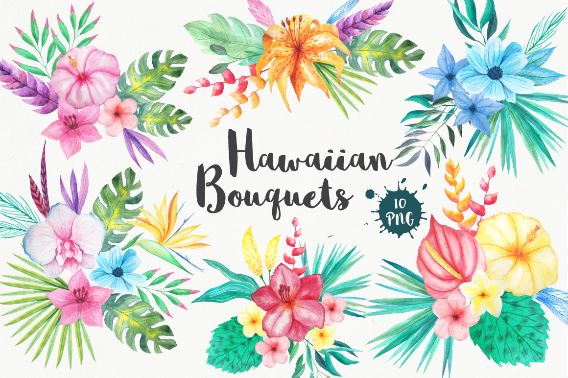 free-tropical-bouquets-clipart-set