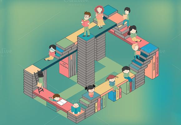 city-books-children-reading-premium-illustration