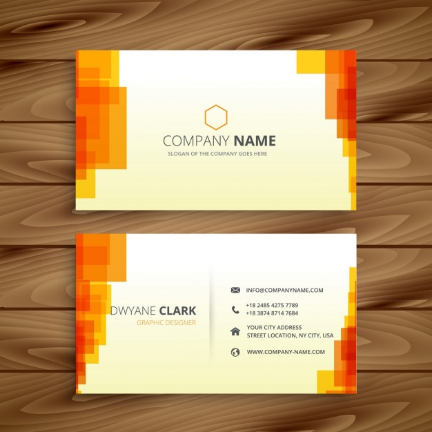 free-orange-pixelated-business-card-mockup