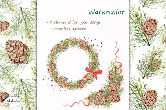 pine-cones-watercolor-premium-illustration