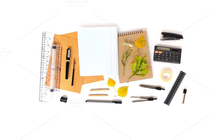 premium-notebook-with-stationery-mockup