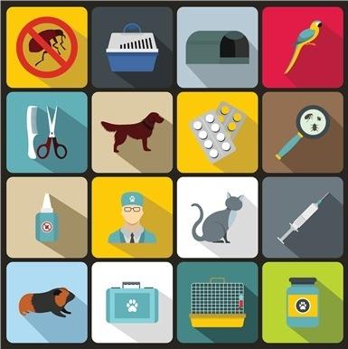 veterinary-flat-style-premium-icon-set