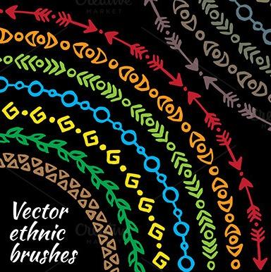 premium-ethnic-tribal-brush-set-vector
