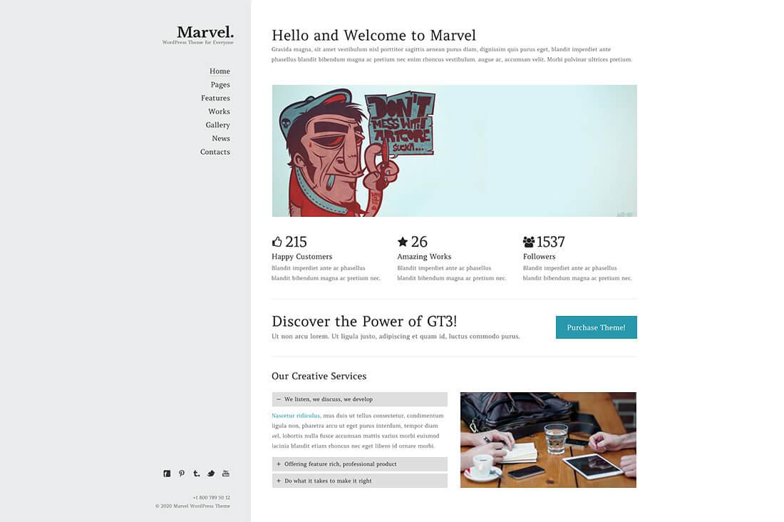 Marvel - Creative Portfolio Website Template