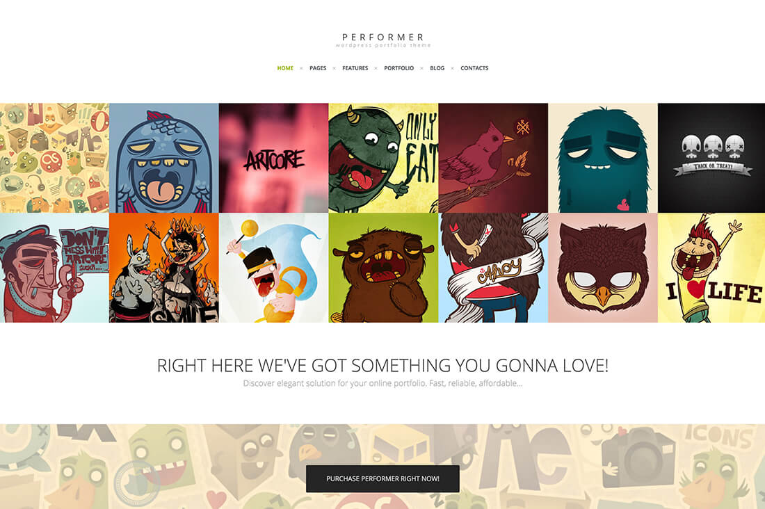 Performer -Minimalistic Portfolio Web Template