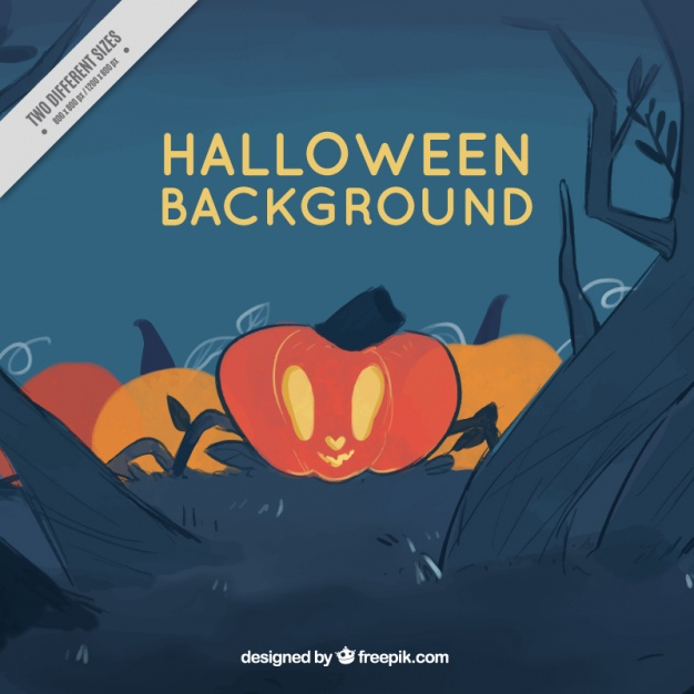 background-halloween-pumpkin-sketches-free-vector