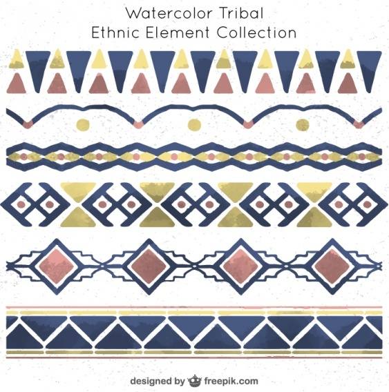 free-collection-of-watercolor-tribal-elements