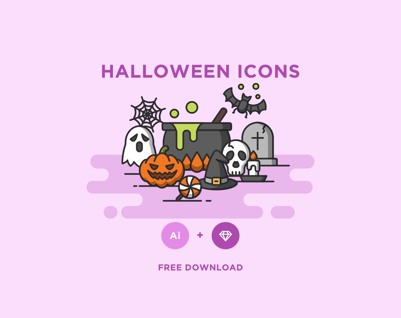 free-halloween icons-set