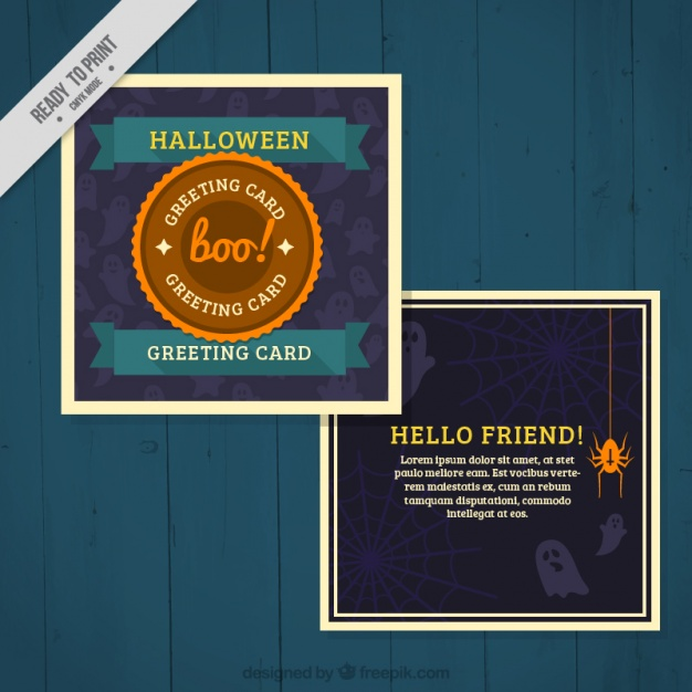 greeting-card-with-ghosts-and-spiders-for-halloween-free-vector