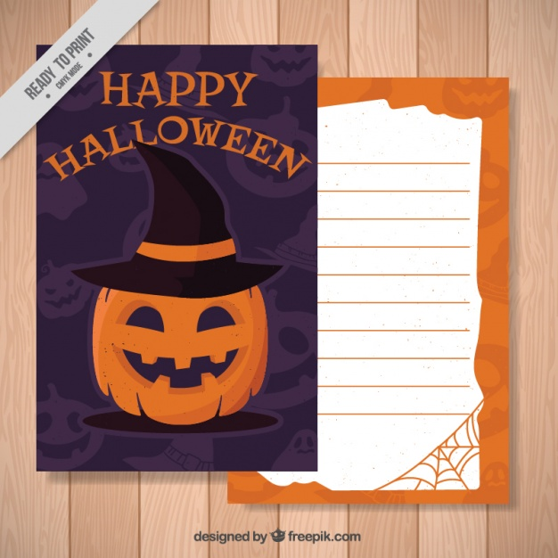 halloween-card-of-pumpkin-with-witch-hat-free-vector