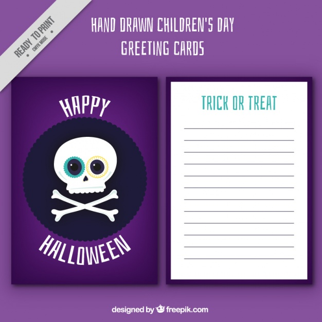 halloween-card-of-skull-free-vector