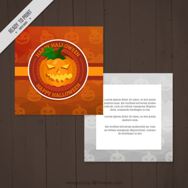 halloween-card-template-with-a-creepy-pumpkin-free-vector